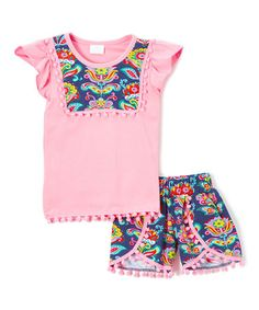 Another great find on #zulily! Pink & Navy Paisley Pom-Pom Tee & Shorts - Toddler & Girls #zulilyfinds