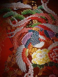 正絹 打掛用織物 見本布 【鳳凰に扇に桜】_画像3