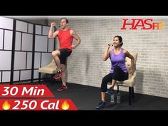 30 Min Senior Workout Routines – Standing & Seated Chair Exercise for Seniors, Elderly, Older People - HASfit - Free Full Length Workout Videos and Fitness Programs Flexibility Workout, Strength Workout, Strength Training, Fitness Senior, Senior Workout, Squat, Gym Workouts, At Home Workouts, Band Workout