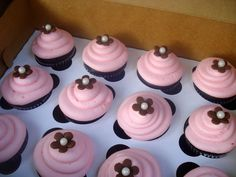 Pink and Brown cupcake inspiration....maybe chocolate cake with strawberry icing & chocolate flower?