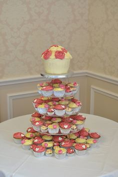 Pink and cream wedding cupcakes with rose giant cupcake by Little Miss Cupcakes