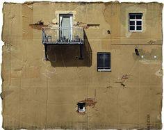 Pinturas de spray increíbles en cartón del artista EVOL.  La textura del cartón se convierte en un componente integral de la pintura: una descomposición, el desmoronamiento de superficie de la pared.