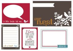 Free Home/Love/Life Journal Cards for Project Life from Freshly Hatched Studio