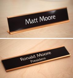corporate name plates rose gold framed
