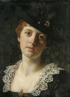 The Athenaeum - Portrait of a Woman in Hat with Feathers (Ladislas von Czachórski 1850-1911)