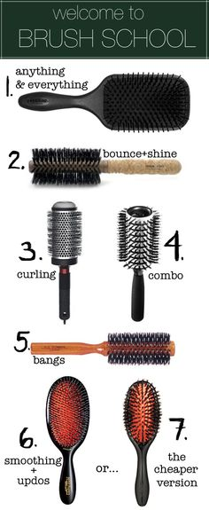 Choose your hair arsenal, from TheBeautyDepartment.com: #1 The Denman Paddle Brush. You can detangle with it, blow dry with it, massage your head with it, and tease hair with it. It doesn't pull or scratch because of its perfectly rounded nylon pin-bristles, it doesn't cause static, and is padded with an air cushion. On a daily basis, I use it to blow my hair out quickly before I curl it with a curling iron.    #2 Ibiza Round Brushes. These are my favorite round brushes for home use. They're...