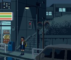 A site to see the beauty in simplicity Help Us! Jill Valentine, Rurouni Kenshin, Pixel Art Food, Arte 8 Bits, Pixel Animation, Weird Art, Landscape Illustration, Art Images, Anime