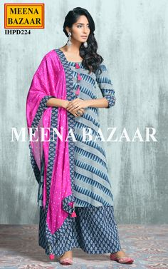 Enhance your style with this blue Blue Cotton Sharara Suit. This suit is accentuated with prints all over. Comes with the matching cotton sharara and contrast dupatta. Pakistani Outfits, Indian Outfits, Simple Dresses, Casual Dresses, Cotton Dress Indian, Designer Sarees Online Shopping, Fancy Kurti, Bollywood Dress, Indian Bridal Wear