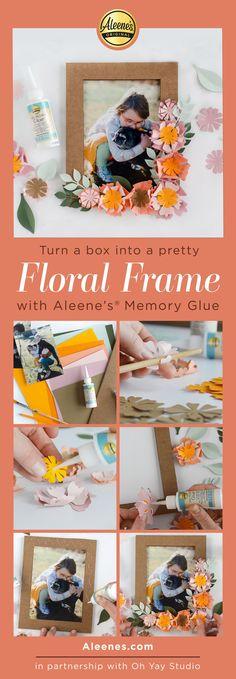 Aleene's Original Glues - Paper Flower Frame Spring Craft with Memory Glue #floral #paperflowers #paperfloral #diyframe #floralframe #aleenes #aleenesdiy Quick Crafts, Creative Crafts, Crafts For Kids, Classroom Crafts, Scrapbook Journal, Glue Crafts, Diy Pillows, Flower Frame, Spring Crafts