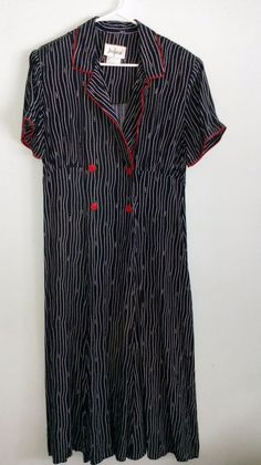 Ladies Black dress with stripes and red trim, Size 16 My Ebay, Size 16, Stripes, Lady, Dresses, Vestidos, The Dress, Dress, Gowns