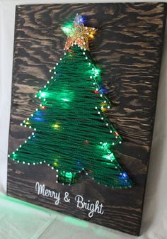 Merry & Bright Christmas Tree String-Art w/ multi-colored LED lights (battery operated w/ optional 6 hour timer) on dark brown stained wood. [by: LambofHearts]