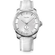 Calvin Klein Women's Alligator Strap Stainless Steel Automatic Watch ($1,600) ❤ liked on Polyvore featuring jewelry, watches, white, stainless steel watches, white jewelry, calvin klein, calvin klein watches and stainless steel jewelry