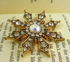 Aurora Borealis Brooch, Crystal Brooch Pin, Gold Rhinestone Brooch Pin, Star Brooch, Vintage Signed Jewelry, KC Jewelry, Diamond Gold Brooch by FemByDesign on Etsy