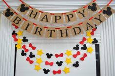 Mickey mouse inspired HAPPY BIRTHDAY banner garland, baby's first birthday,  rustic birthday decor, red black yellow Mickey birthday by DCBannerDesigns on Etsy https://www.etsy.com/listing/207195706/mickey-mouse-inspired-happy-birthday