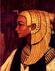 A painting of an Egyptian priestess or queen wearing the vulture crown of Nekhbet. This piece was the cover of Gnosis magazine around 1992.