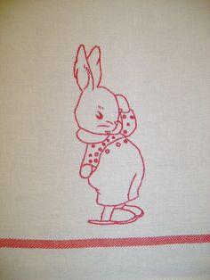 Redwork Burp Cloth