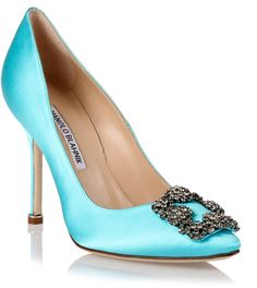 Manolo Blahnik Hangisi satin pump tiffany blue on shopstyle.com.au