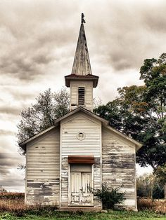 Abandoned wood frame country church, Ionia County, Michigan. Dated 1875