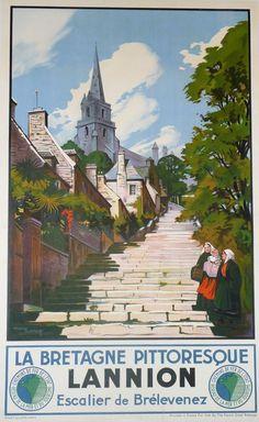 La Bretagne Pittoresque (Maurice Toussaint, Lannion-Lithgraph in colors.  (circa) 1930