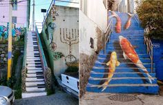 Street Art by Kevin Lowry in Seoul, South Korea South Korea, Street Art, To Go, Fair Grounds, Stairs, Japan, Outdoor Decor, Life, Design