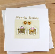 twin girl 1st birthday card twins first birthday card pinterest