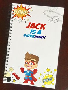 Personalized Notebook for boys,notebook with superhero,personalized notebook, custom notebook,cute journal ,cute notebooks by TIPgifts on Etsy