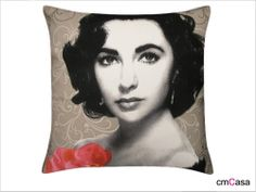 =cmCasa= 2317  Elizabeth Taylor Picture Throw Pillow Case/Cushion Cover
