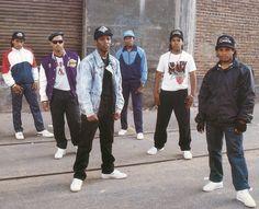 N.W.A. - (left to right) Arabian Prince, DJ Yella, MC Ren, Dr. Dre, Ice Cube, Eazy-E