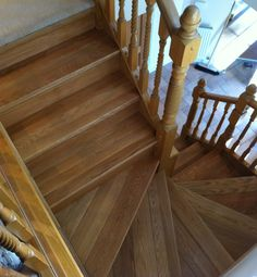 Oak Stair Cladding fitted & pre finished in a clear oil by Heritage Doors & Floors LTD.  Straight & Winder tread packs are included to complete this stair case!