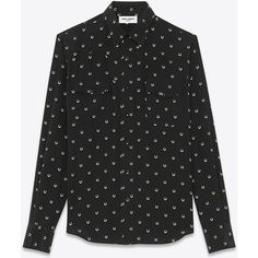 Saint Laurent Western Shirt In Black And Ivory Horseshoe Printed Silk... (12.600 ARS) ❤ liked on Polyvore featuring men's fashion, men's clothing, men's shirts, men's casual shirts, tops, shirts, linh vu, mtop, saint laurent and black