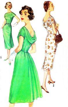 1950s Dress Pattern Simplicity 2411 Draped Back Full or Slim Skirt Evening Dress Womens Vintage Sewing Pattern Bust 32 Uncut