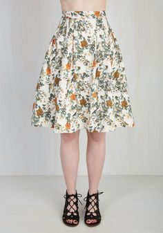 Anthropological Solution Skirt. Prizing relics of the past is your forte, and this ivory skirt from Canadian brand Pink Martini is your favorite curation! #white #modcloth