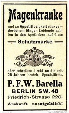 Original-Werbung/Anzeige 1905 - P.F.W. BARELLA / BERLIN - ca. 45 x 75 mm