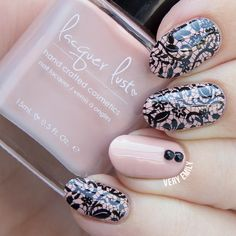 Delicate Print ~ Lacquer Lust 'Dusty Rose' stamped with Born Pretty plate BP02 and MdU black ~ by Very Emily