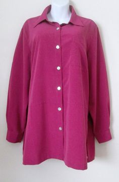 df9f9d1b58b Travel Smith Size XL Fuchsia Button Down Big Shirt Jacket Microfiber Tunic  Top  TravelSmith