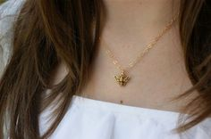 Little Bee Necklace Gold Necklace by wearpunctuation on Etsy