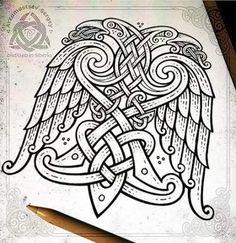 Two-headed ornamental eagle 🦅 (iPad pro + apple pencil + Procreate app = sketch, workflow) Орёл орнаментальный Rune Tattoo, Norse Tattoo, Tattoo On, Celtic Tattoos, Viking Tattoos, Compass Tattoo, Wiccan Tattoos, Inca Tattoo, Indian Tattoos