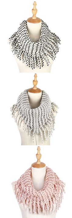 Winter Warm Thick Collar Ring Scarf With Tassel For Women Outdoor Windproof Scarves