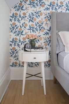 Beautiful Rifle Paper Co wallpaper for Hygge & West and West Elm Penelope Night Stand