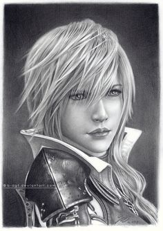 Lightning Returns by B-AGT on deviantART- can I take this into my hairdresser and ask for those bangs? Final Fantasy Girls, Lightning Final Fantasy, Final Fantasy Artwork, Lightning Images, Black White Art, Fantastic Art, Amazing, Fantasy Series, Pattern Art