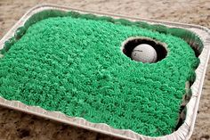 hole in one golf cake for father's day. would definitely do coconut for grass with chocolate cake. Cute Food, Good Food, Just Desserts, Delicious Desserts, Golf Birthday Cakes, Golf Cakes, Sports Birthday, Football Birthday, Golf Themed Cakes