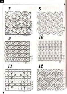 patterns to try when crocheting a shawl, scarf etc.