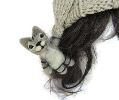 Yes I would wear this! Kitten hat needle felted animal on knit hat by ElvenArtistsForest