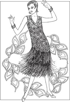 Creative Haven JAZZ AGE FASHIONS Coloring Book by: Ming-Ju Sun Coloring Page 3