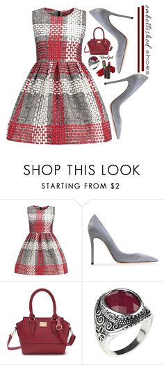 """Silver and red dress by Rosegal"" by deeyanago ❤ liked on Polyvore featuring Gianvito Rossi"