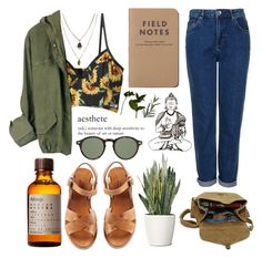 """""""let's go exploring!"""" by crunchypeanutbutter ❤ liked on Polyvore featuring Jamie Jewellery, Topshop, A.P.C., Aesop, PLANT, Maison d'usQ, éS and Moscot"""
