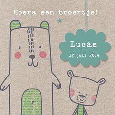 Hoera een broertje! - Geboortekaartje www.carddreams.be