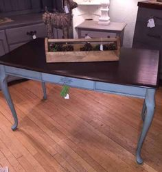 Writing desk done in Duck Egg Chalk Paint® and Clear and Dark Wax.