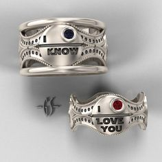Star Wars wedding bands with the iconic Hans Solo-Princess Leia exchange!!