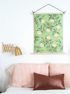 How to hang...This is an interesting wrapping paper wall hanging, when you just can't bear to throw that gorgeous paper away